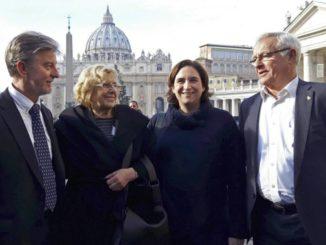 Los nuevos católicos: Pedro Santisteve, Manuela Carmena, Ada Colau y Joan Ribó.