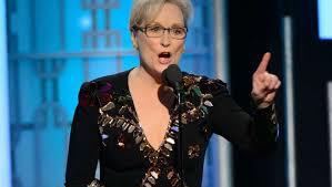 Meryl Streep, en su mitin en los premios Globo de oro. /Foto: clarín.com.