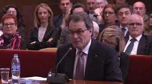 Artur Mas en su farsa de juicio. /Foto: elperiodico.com.