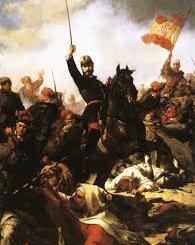 Prim, con los voluntarios catalanes, en la carga de Castillejos.