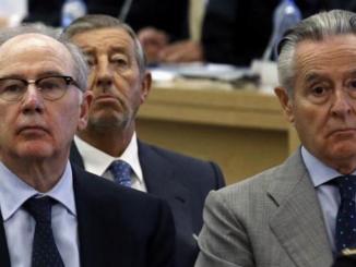 Rodrigo Rato y Miguel Blesa, en el juicio. /Foto: RTVE.es.