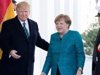 Donald Trump con Ángela Merkel. /Foto: BBC.com.